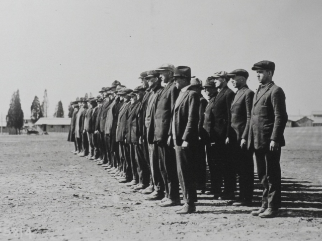 Draftees on arrival at Camp Meade, 1918 (AHEC)