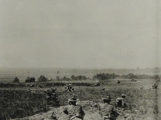 Troops in field maneuvers, Camp Meade (AHEC)