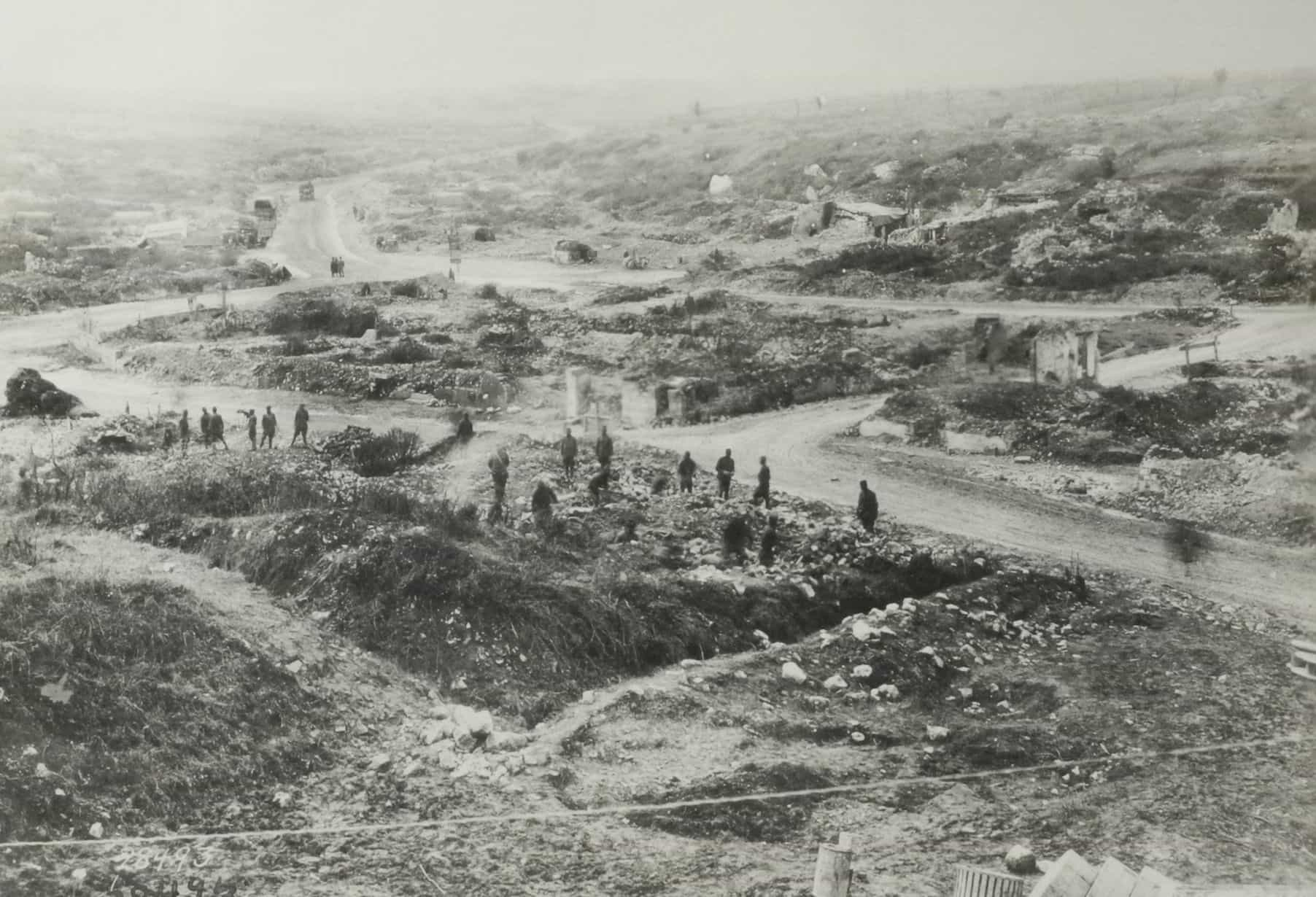 The roads in Avocourt a month after the capture of Montfaucon.  The supply lines of three divisions converged on this junction during the assault. This is the labyrinth that Private Cain tried unsuccessfully to navigate in the dark during the battle. (AHEC)