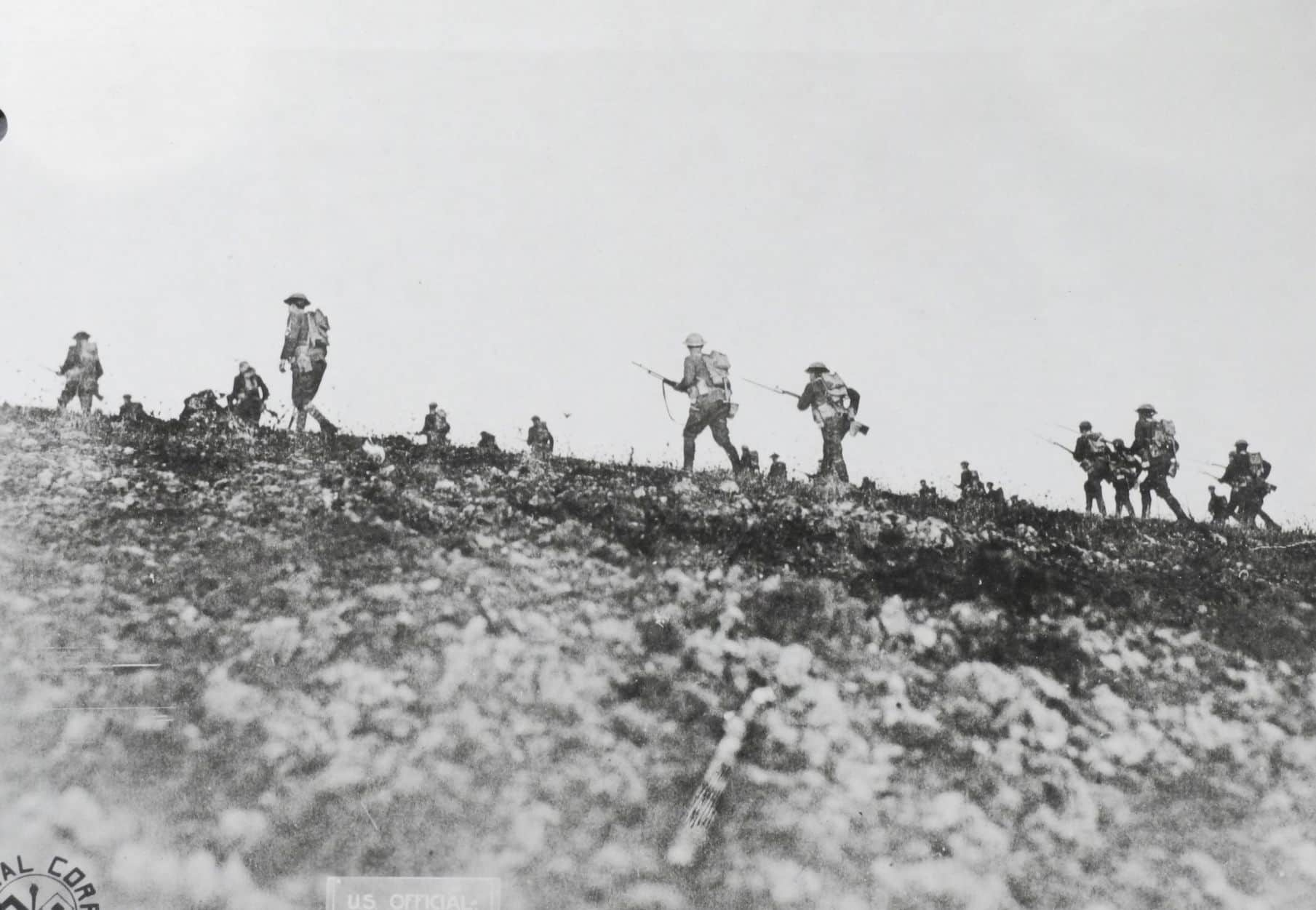 Company G, 313th Infantry, on training maneuvers in the Troyon sector (AHEC)