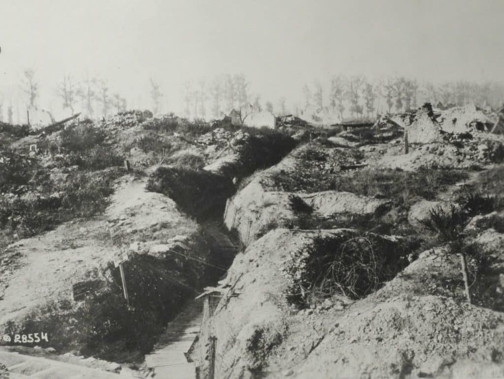 Trenches occupied by the 79th at Vachereauville, General Kuhn's headquarters during the Heights of the Meuse operation (AHEC)