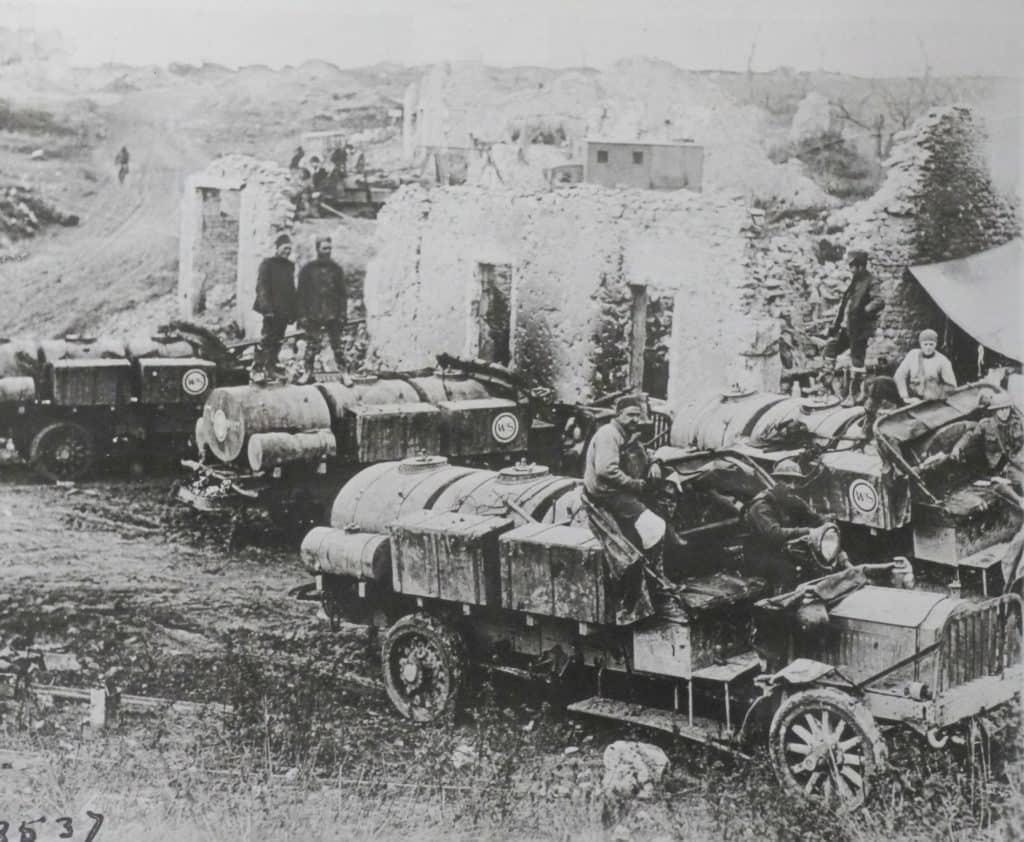 Water tank trucks arrive, November 13.  The lack of water severely hampered the 79th at Montfaucon; in the Heights of the Meuse, they were much better supplied. (AHEC)