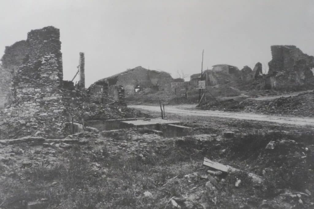 The ruins of Ville Devant Chaumont, the 79th Division's furthest point of advance (AHEC)