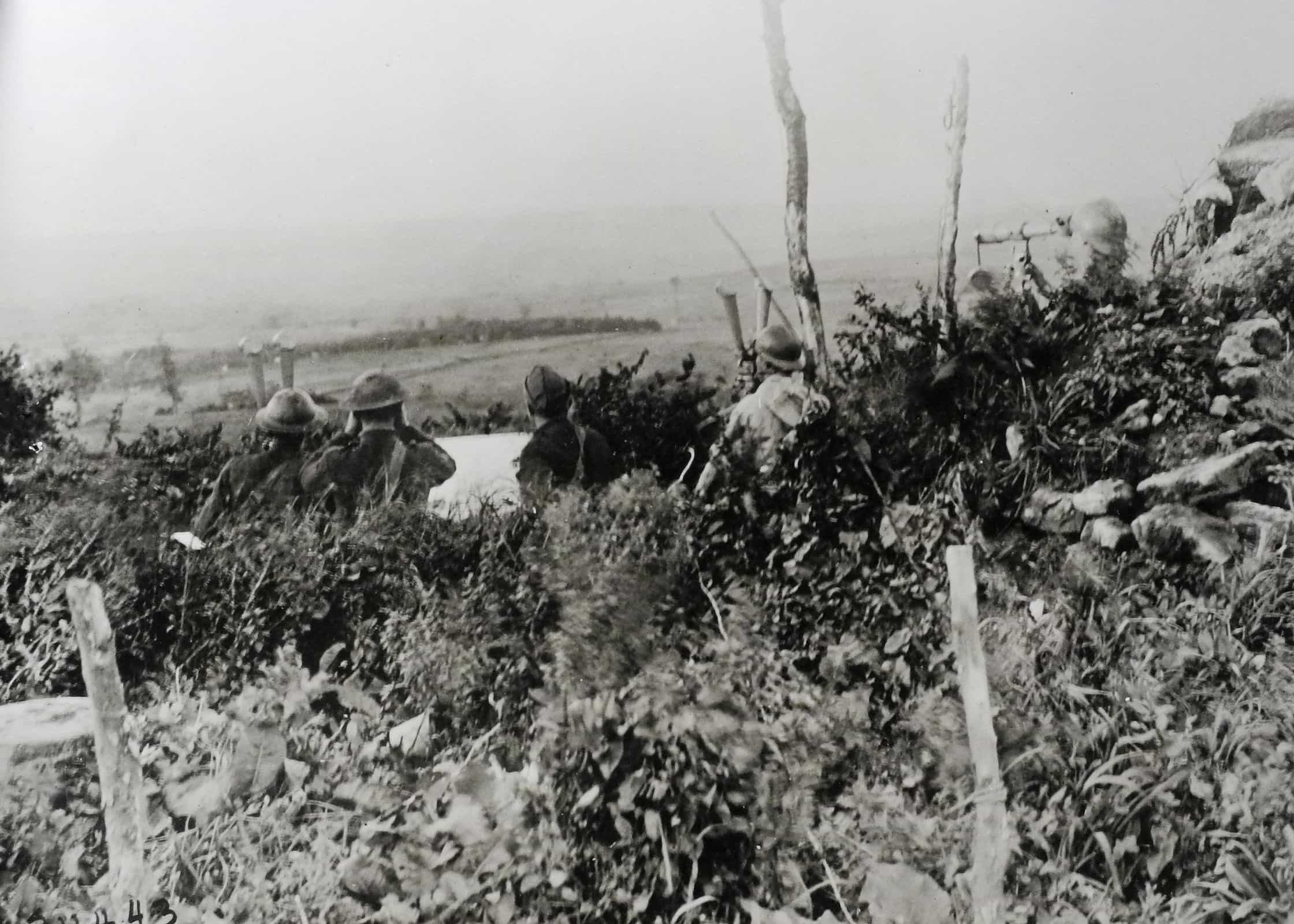 American and French artillery observers on Montfaucon giving the range to the Bois des Ogons, September 28. (AHEC)